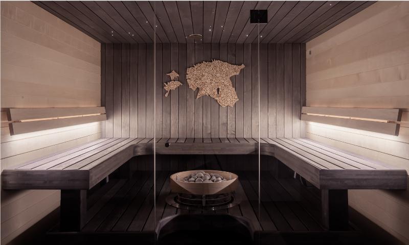 綺麗なサウナ室の画像